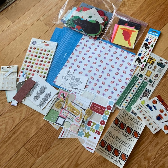 3/$10 Scrapbook paper sticker cutouts & football